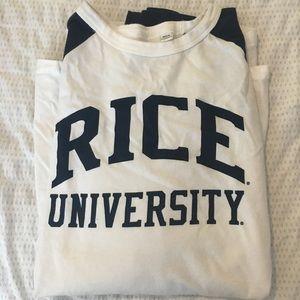 Rice University long sleeve baseball tee